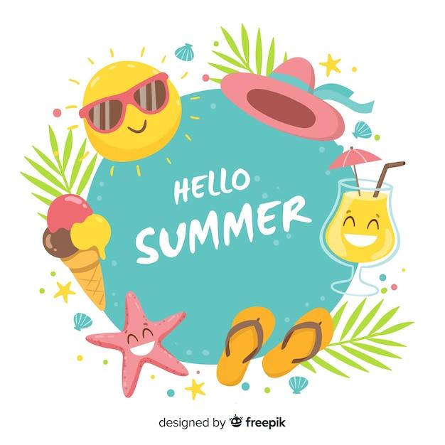 Фон рамки летних элементов Бесплатные векторы