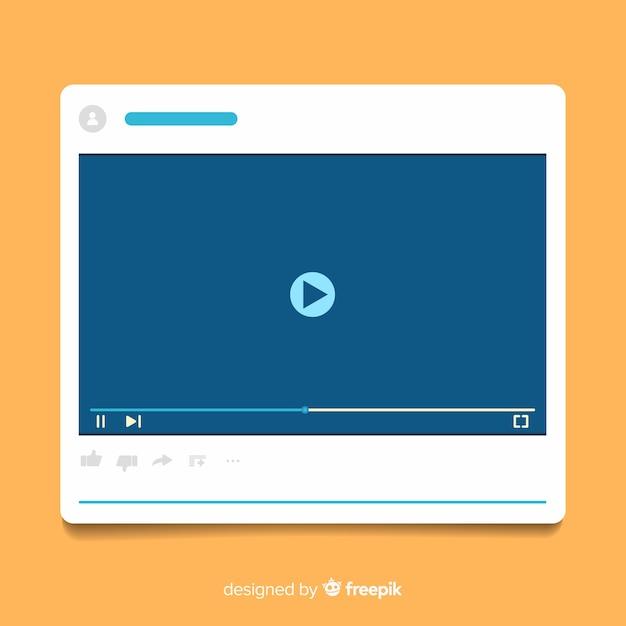 Плоский шаблон мультимедийного плеера Бесплатные векторы