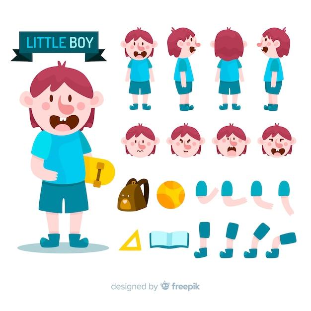 Персонаж мультфильма мальчика для дизайна движения Бесплатные векторы