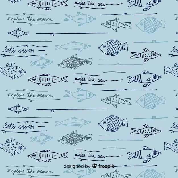 手描きの言葉と動物のパターン 無料ベクター