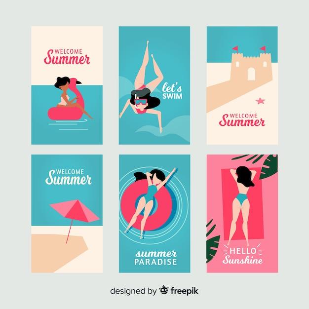 平らな夏の女の子カードコレクション 無料ベクター