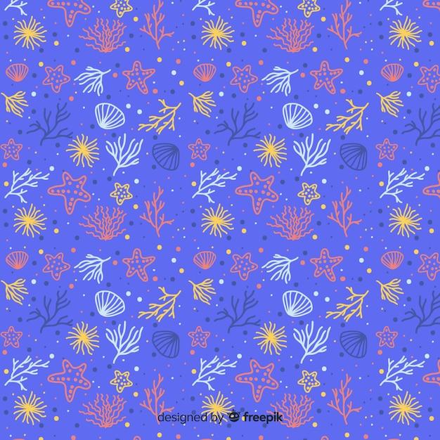 手描きのサンゴの背景 無料ベクター