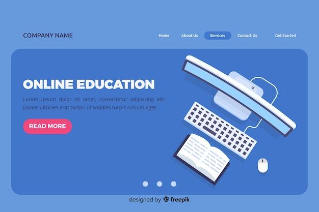 フラットオンライン教育ランディングページ 無料ベクター