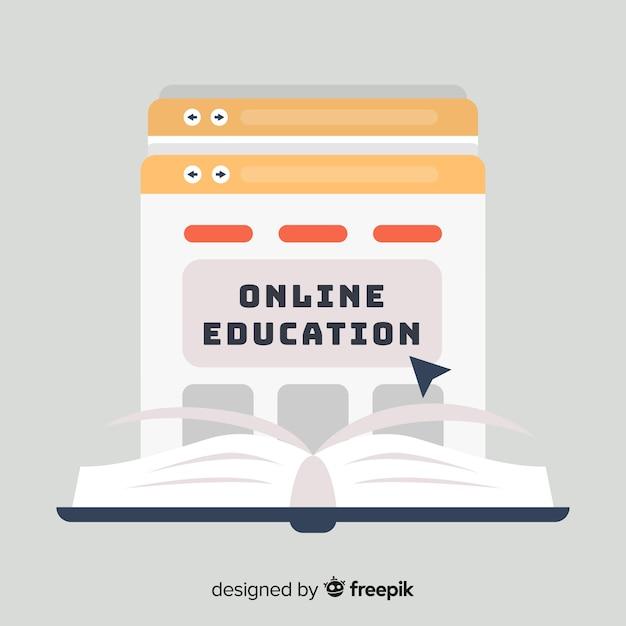 オンライン教育の平らな背景 無料ベクター