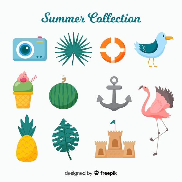 平らな夏の要素のコレクション 無料ベクター