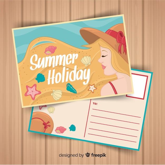 手描きのブロンドの女の子の夏のポストカード 無料ベクター
