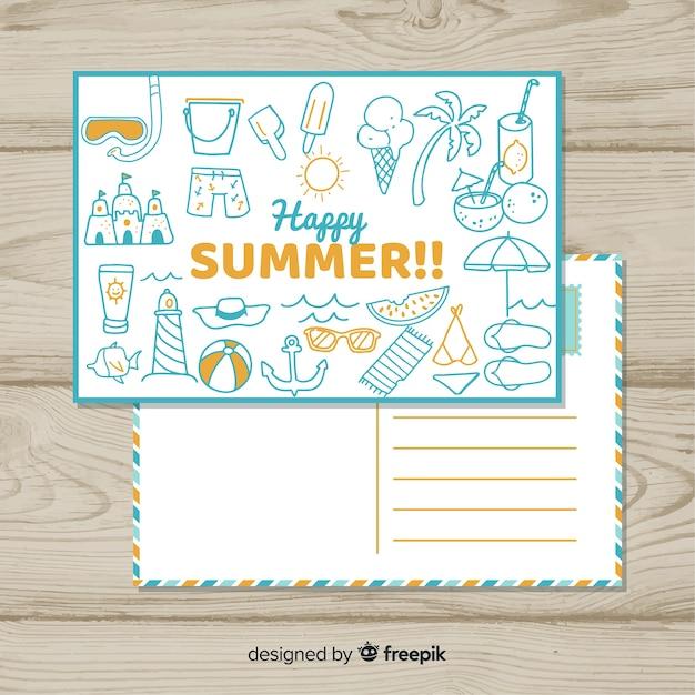 手描き落書き夏ポストカード 無料ベクター