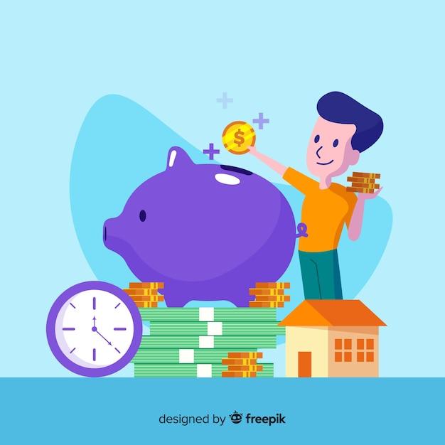 カラフルなお金を節約の背景 無料ベクター