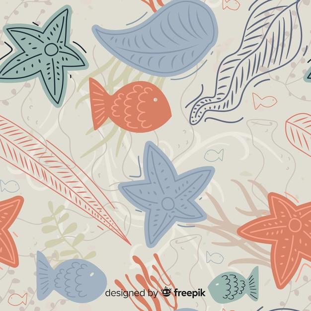 手描きのサンゴパターン 無料ベクター