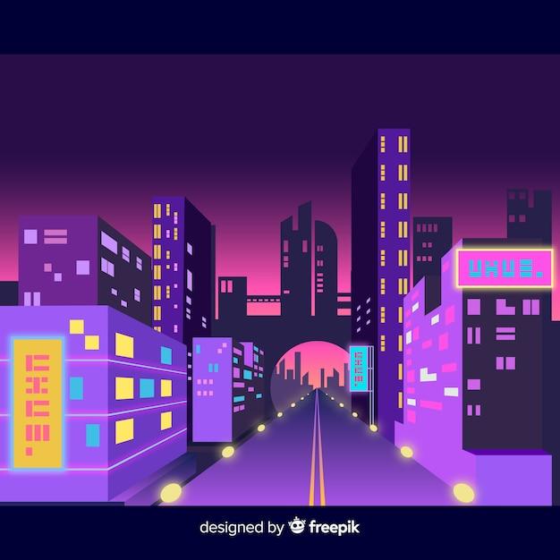 Футуристический город на ночной иллюстрации Бесплатные векторы