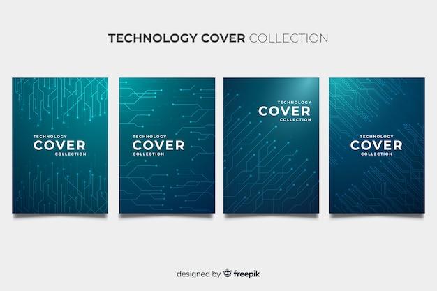 テクノロジースタイルのパンフレットパック 無料ベクター