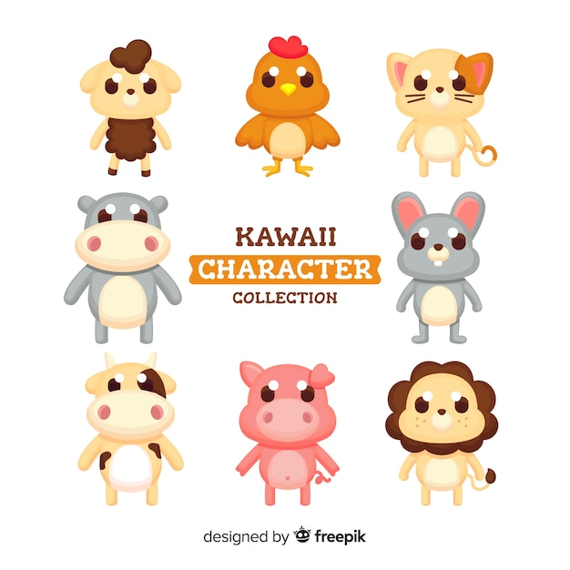 Милые персонажи каваи Бесплатные векторы
