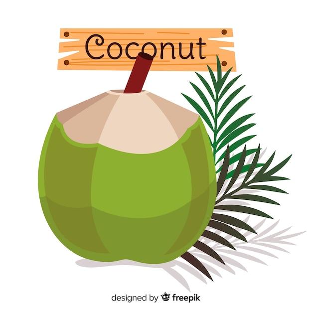 手描きのココナッツの葉の背景 無料ベクター