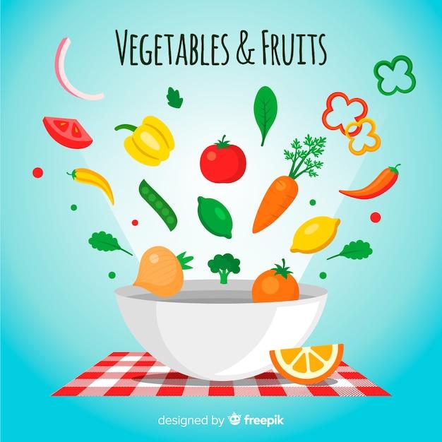 平らな果物と野菜の背景 無料ベクター