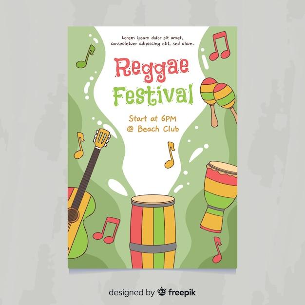 Ручной обращается регги инструменты музыкальный фестиваль плакат Бесплатные векторы