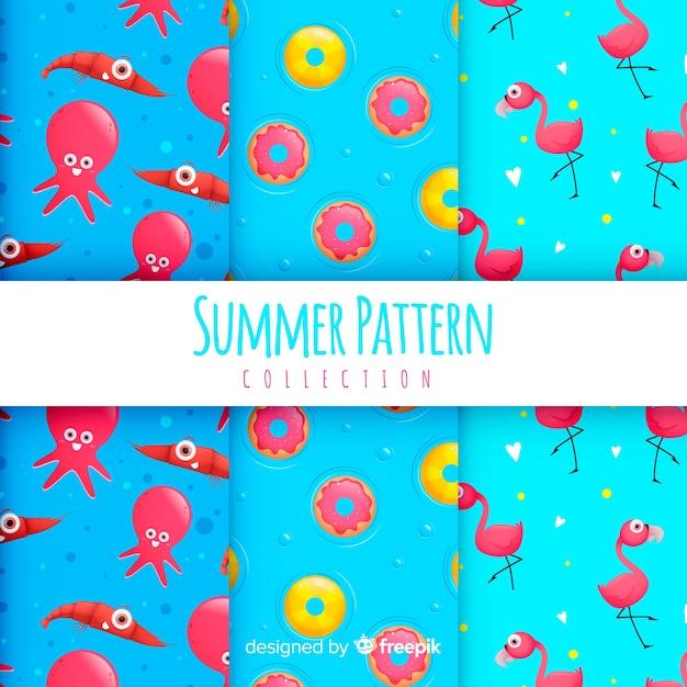 平らな夏パターンコレクション 無料ベクター