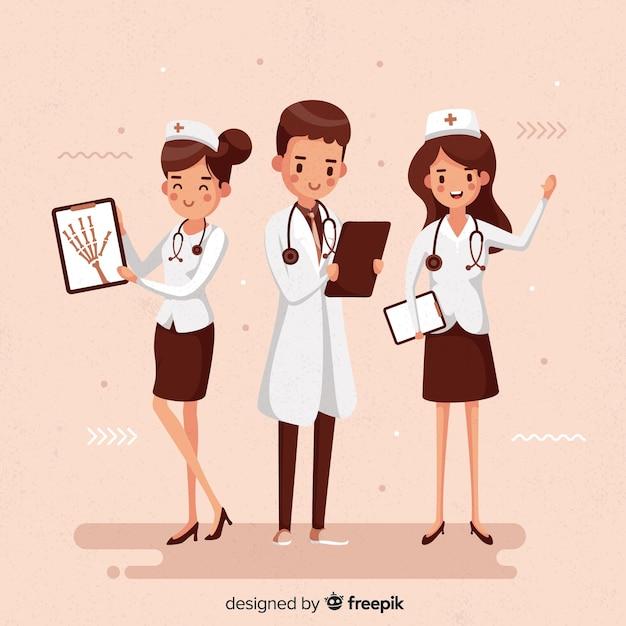 手描き看護師チーム 無料ベクター