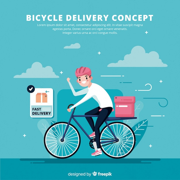 自転車配達 無料ベクター