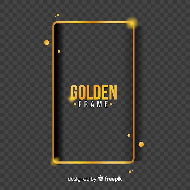 光の効果と幾何学的なゴールデンフレーム 無料ベクター