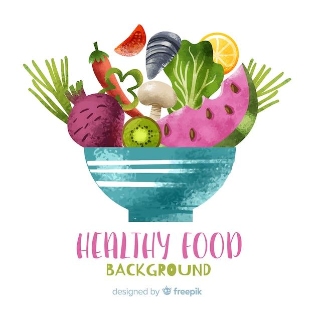 水彩の果物と野菜の背景 無料ベクター