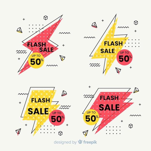Продажа баннеров в стиле мемфис Бесплатные векторы