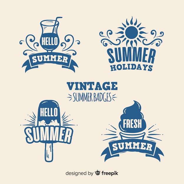 夏のバッジコレクション 無料ベクター