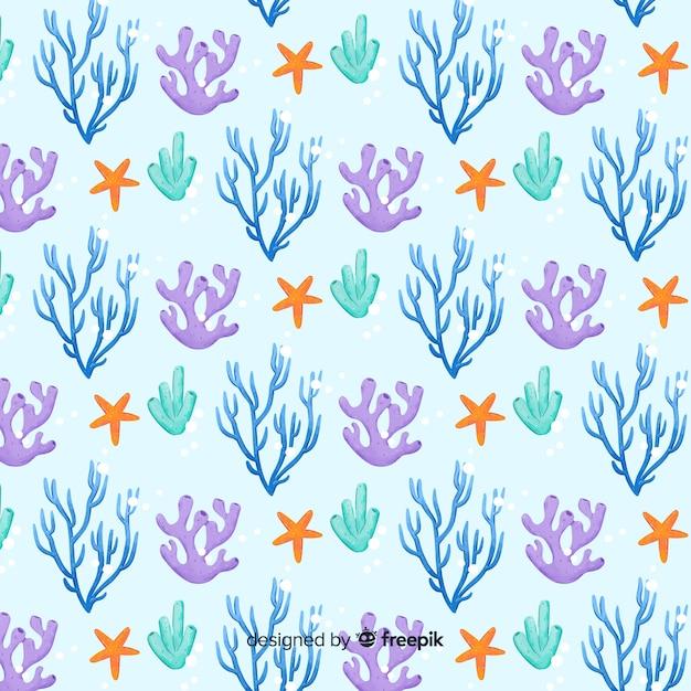 水彩サンゴパターン 無料ベクター
