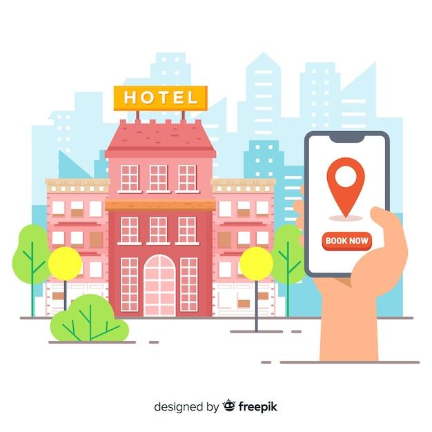 フラットホテル予約の背景 無料ベクター