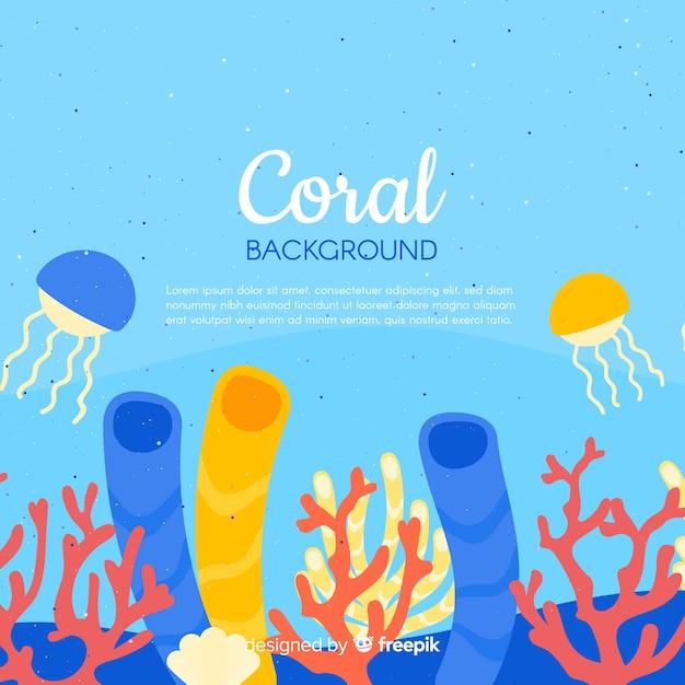 カラフルな手描きの水中サンゴの背景 無料ベクター