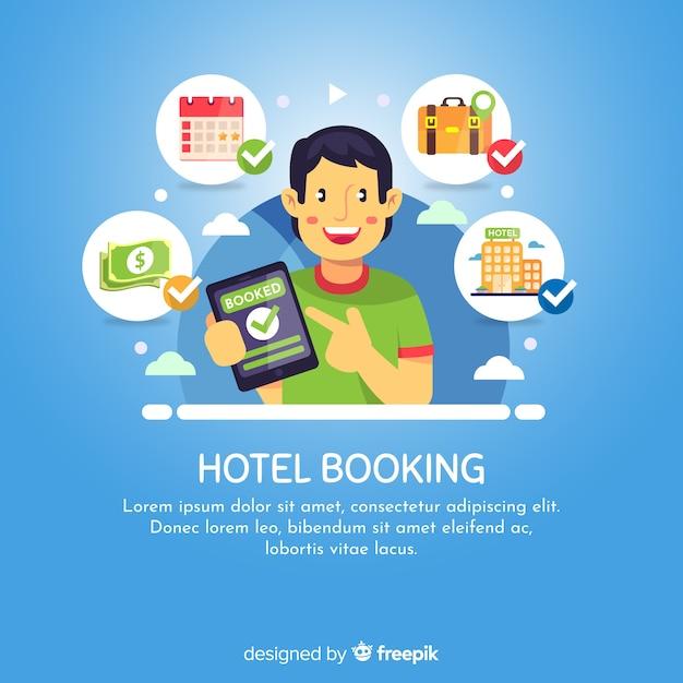 幸せな少年ホテル予約の背景 無料ベクター