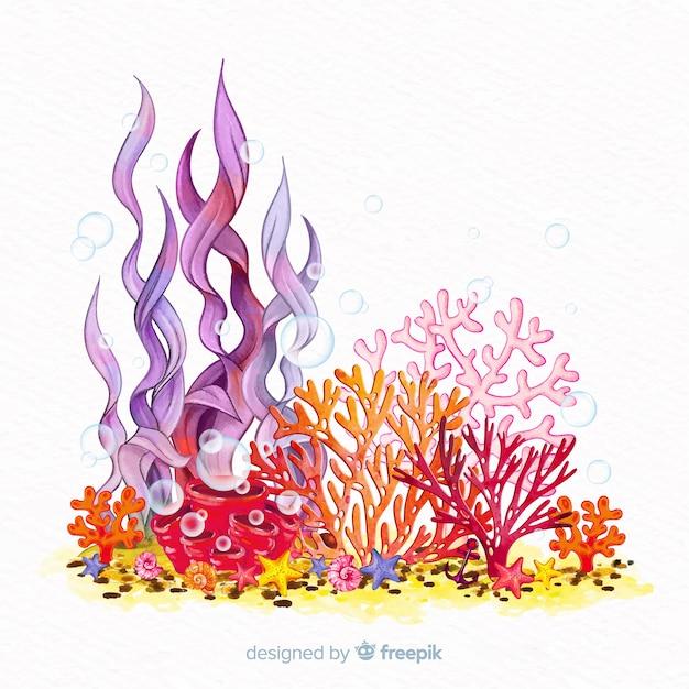 カラフルな水彩の水中サンゴの背景 無料ベクター