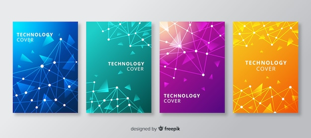 テクノロジースタイルパンフレットセット 無料ベクター