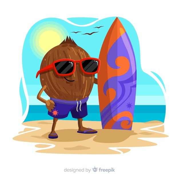 Ручной обращается кокосовый мальчик фон Бесплатные векторы