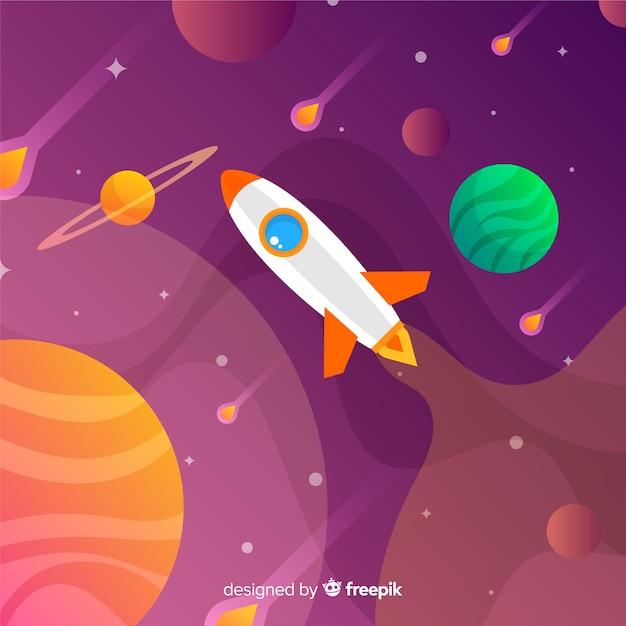 ロケットとグラデーション空間の背景 無料ベクター