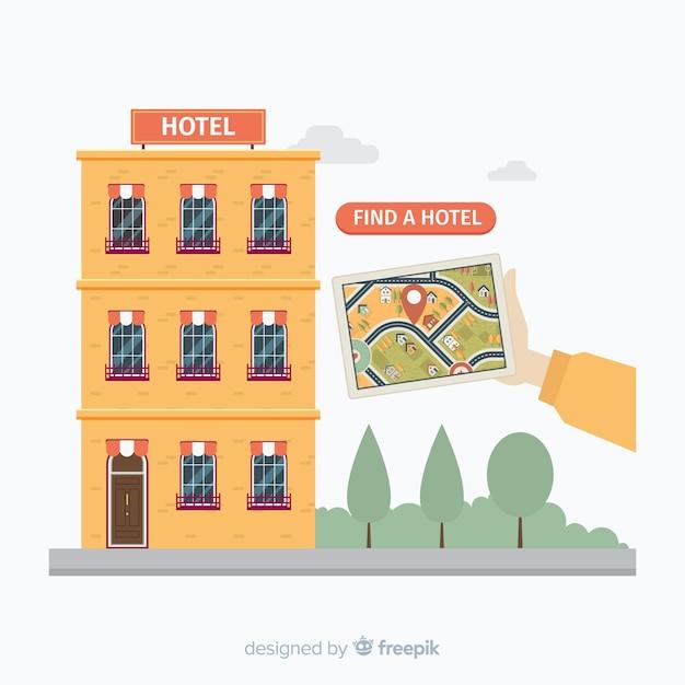 ホテル予約の概念の背景 無料ベクター