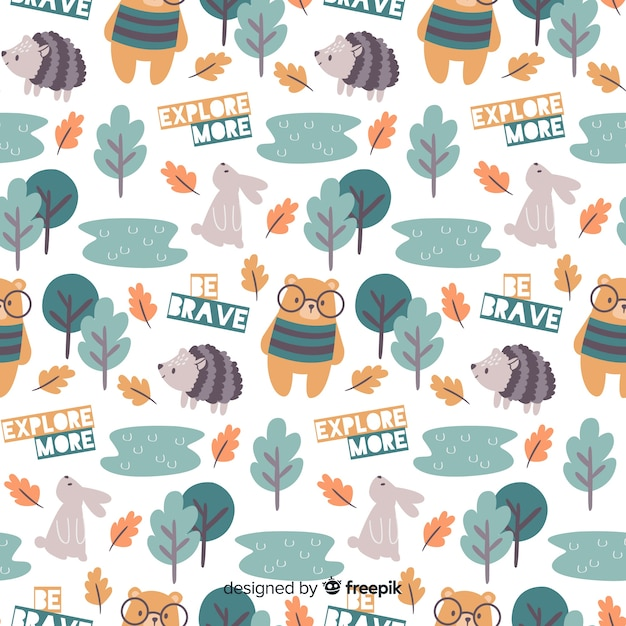 カラフルな落書き森林動物と言葉のパターン 無料ベクター