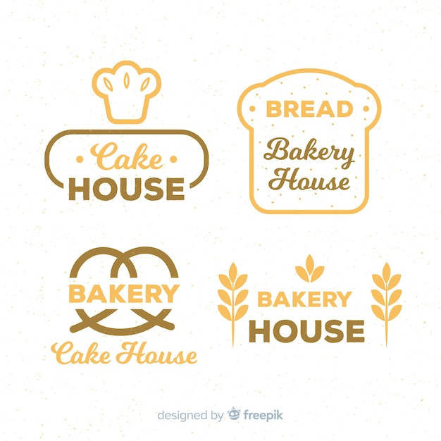 Плоские хлебобулочные логотипы Бесплатные векторы