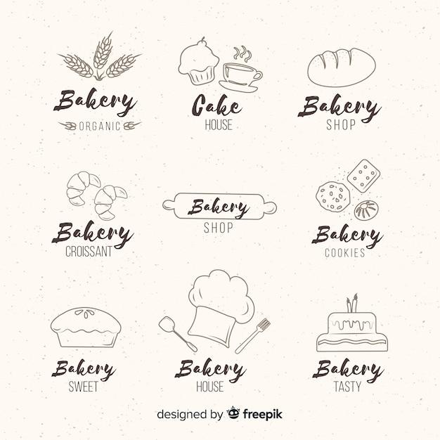 Ручной обращается хлебобулочные логотипы Бесплатные векторы