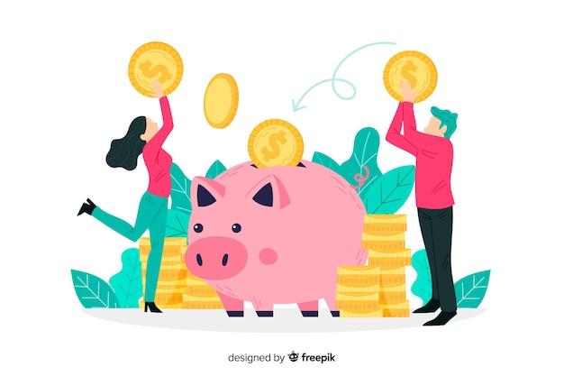 お金の概念の背景を節約 無料ベクター