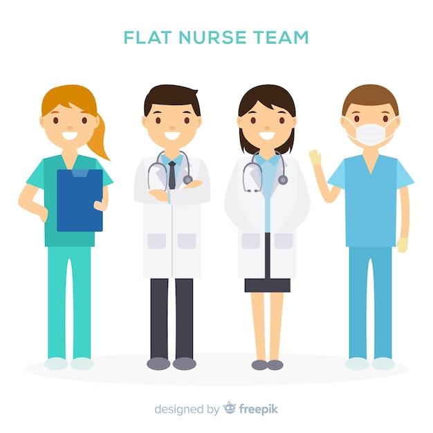 Плоская команда медсестер Бесплатные векторы