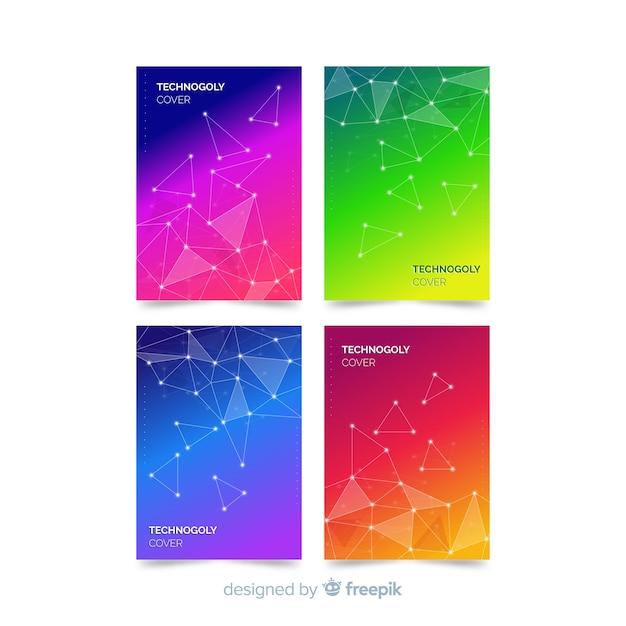 カラフルなテクノロジーのパンフレットセット 無料ベクター