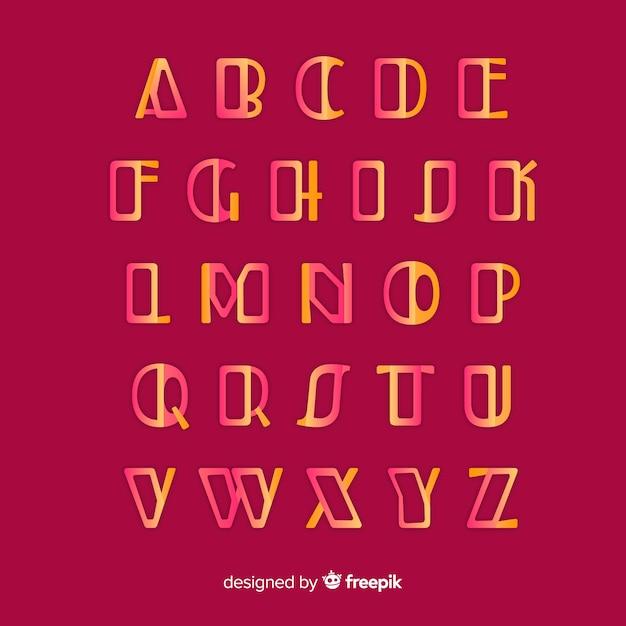 Золотой шаблон градиента алфавита Бесплатные векторы