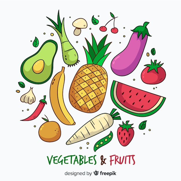 Ручной обращается овощи и фрукты фон Бесплатные векторы