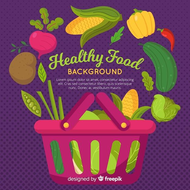 フラット健康食品の背景 無料ベクター