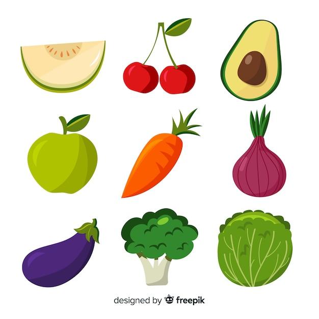 平らな野菜や果物の背景 無料ベクター