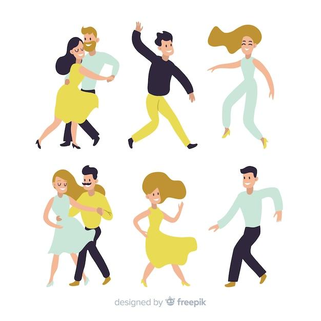 若い人たちが踊ります。ダンスクラスパーティー 無料ベクター