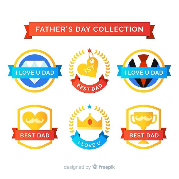 平らな父の日バッジコレクション 無料ベクター
