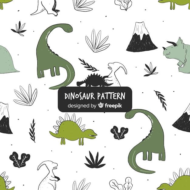 手描きの恐竜パターン 無料ベクター