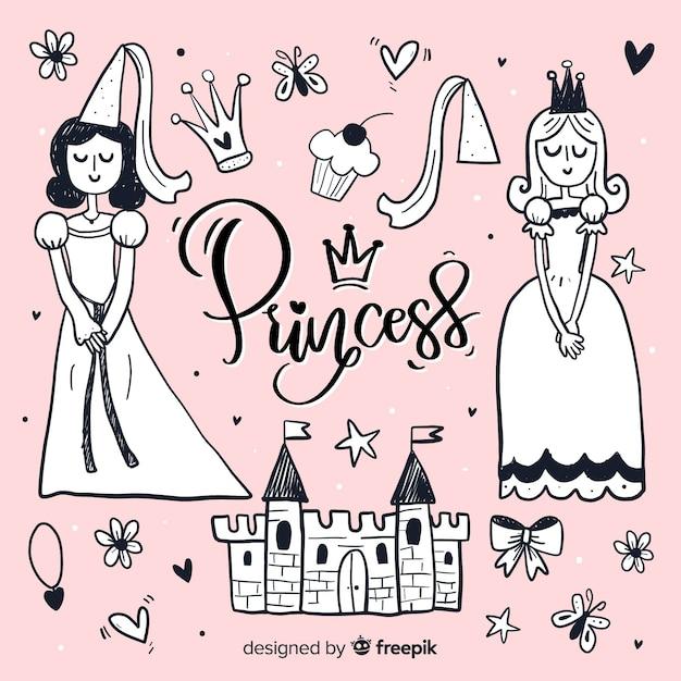 Ручной обращается бесцветная принцесса и предметы фона Бесплатные векторы