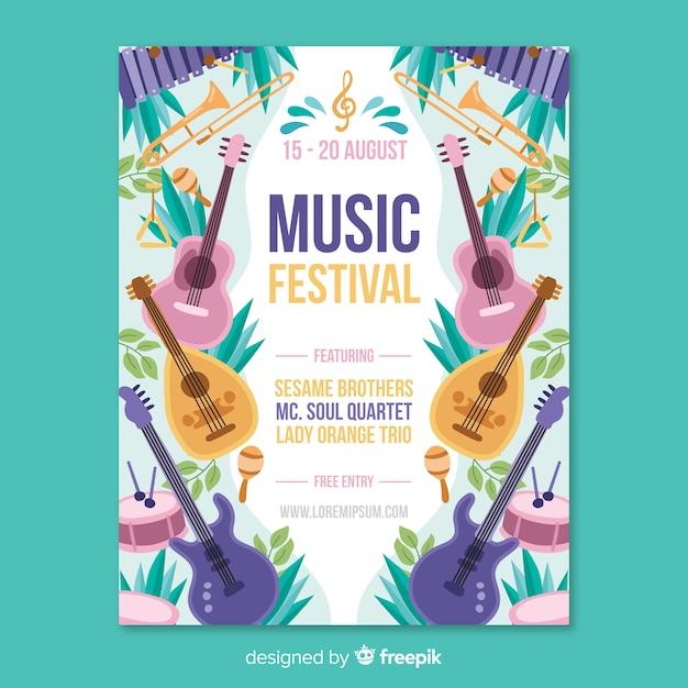 手描き音楽祭のポスター 無料ベクター